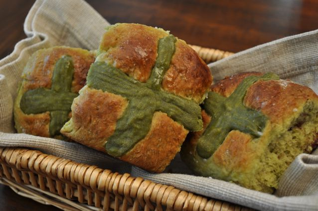 Green Tea & Azuki Hot Cross Buns