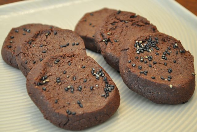 Chocolate & Roasted Black Sesame Sablés