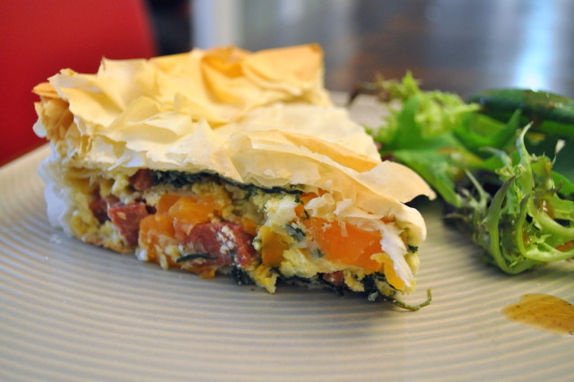 Sweet Potato, Chorizo & Spinach Filo Pie
