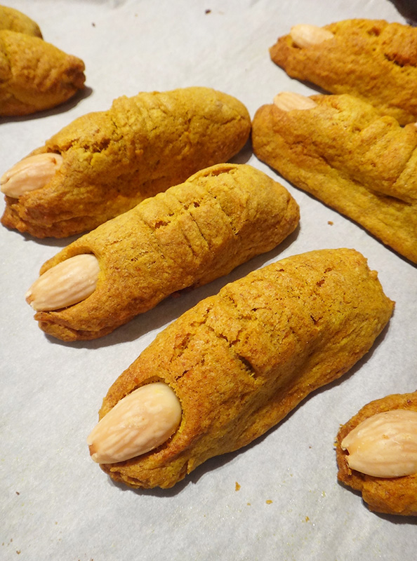 Ghoulish Pumpkin Finger Cookies